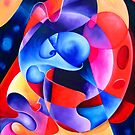 """A Transition in Time"" - colorful abstract expressionistic oil painting by James  Knowles"