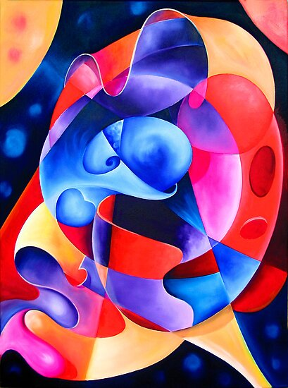 """""""A Transition in Time"""" - colorful abstract expressionistic oil painting by James  Knowles"""
