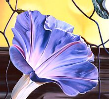 """Morning Glory"" - oil painting of a purple-blue trumpet shaped flower by James  Knowles"