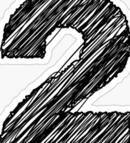 Sketchy Letter Series - Number 2 Sticker