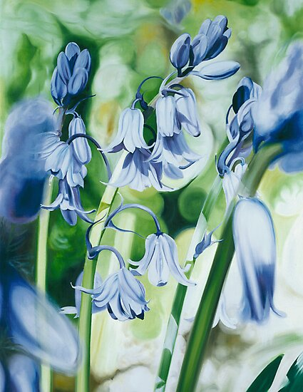 """""""Bluebells"""" - oil painting of bluebells in the English forest by James  Knowles"""