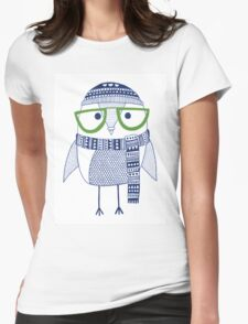 The cross eyed hipster owl Womens Fitted T-Shirt
