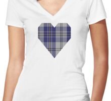 00496 MacPherson Dress Blue (Dance) Clan/Family Tartan Women's Fitted V-Neck T-Shirt