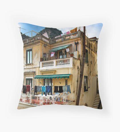 -Washday - Amalfi,  Italy Throw Pillow