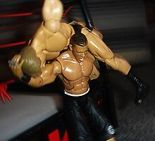 Oh no...... he has him outside the ring! by Roxy66
