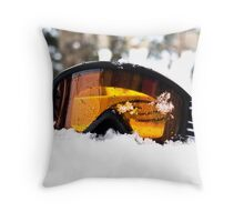 Goggles in the Snow Throw Pillow