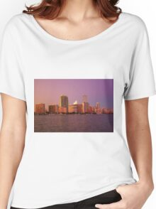 Miami Florida, colourful sunset panorama of downtown business and residential buildings Women's Relaxed Fit T-Shirt