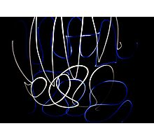 Blue and White Scribble Photographic Print