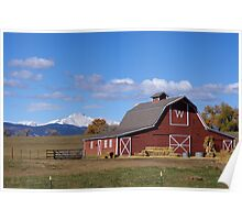 Barn with Longs Peak in background Poster