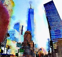 World Trade Watercolor by mikedunning