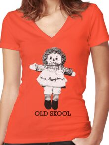 Old Skool Ann Doll Women's Fitted V-Neck T-Shirt