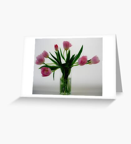 Pink Tulips in a Vase Greeting Card