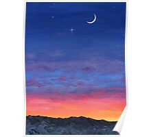 Day To Night Moonlit Sunset Poster