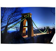 Blue Hour Suspension Bridge Poster