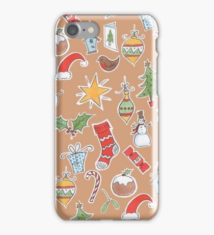 Christmas Icons on Kraft iPhone Case/Skin