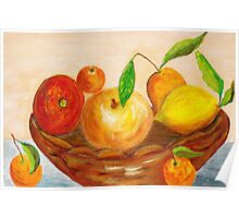 Fruits in a basket Poster
