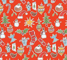 Christmas Icons on Red by lizblackdowding