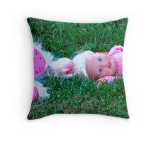 A Little Girl Was Here Throw Pillow