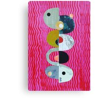 Balance on pink And Red Waves Canvas Print