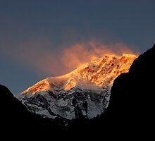 """Sunset on Lamjung Himal"" by Breanna Stewart"