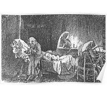 Theodor Kittelsen Underjordiske subteranean underground creatures switching baby in cradle Poster