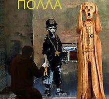 The Scream World Tour  street art Happy Birthday Greek by Eric Kempson
