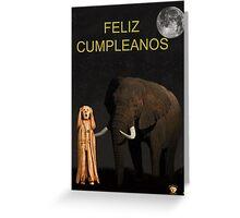 The Scream World Tour African Elephant Happy birthday Spanish Greeting Card