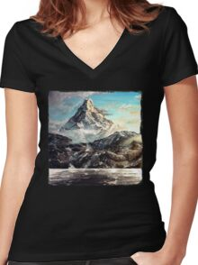 The Lonely Mountain Painting Women's Fitted V-Neck T-Shirt