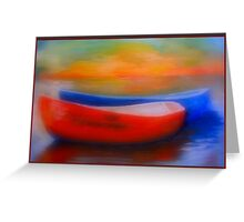 Red And Blue Boats At Sunset Greeting Card