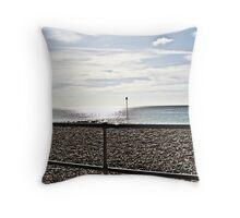 Sun Setting Beach Scene Throw Pillow