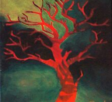 Red Tree in Summer by Poppy Goforth