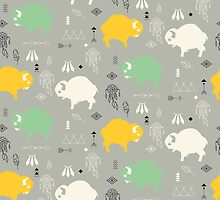 Seamless pattern with cute baby buffaloes and native American symbols by BlueLela
