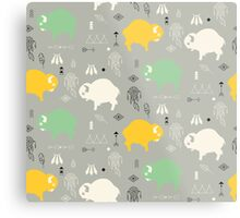 Seamless pattern with cute baby buffaloes and native American symbols Metal Print