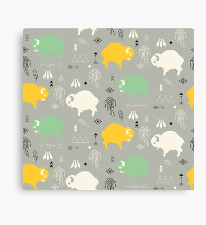 Seamless pattern with cute baby buffaloes and native American symbols Canvas Print