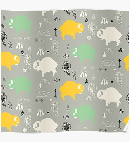 Seamless pattern with cute baby buffaloes and native American symbols Poster