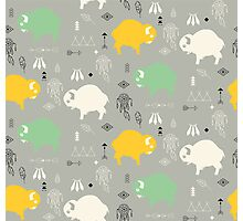 Seamless pattern with cute baby buffaloes and native American symbols Photographic Print
