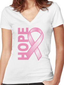Hope Cancer Ribbon Women's Fitted V-Neck T-Shirt