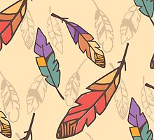 Bohemian colorful feathers, hand drawn by BlueLela