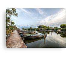 Boats in a lagoon port. Valencia Canvas Print