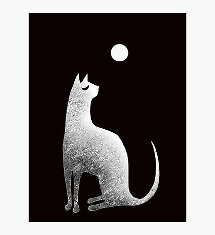 Ghost Cat and Moon in black and white Photographic Print