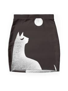 Ghost Cat and Moon in black and white Mini Skirt