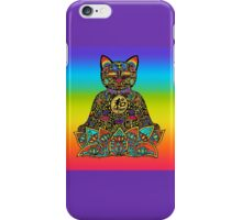 PEACE MANEKI NEKO LUCKY BLACK CAT iPhone Case/Skin