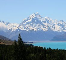 Mount Cook and the azure waters of Lake Pukaki by John Dalkin