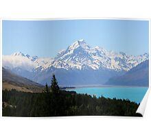 Mount Cook and the azure waters of Lake Pukaki Poster