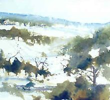 Perisher (watercolour) NSW Australia by Margaret Morgan (Watkins)