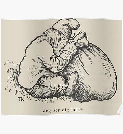Theodor Kittelsen Hona tripper i Berget Barn Eventyr1915p026 Poster