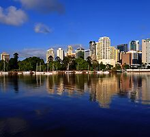 Brisbane River and City at dawn. Queensland, Australia.(3) by Ralph de Zilva