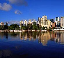 Brisbane River and City at dawn. Queensland, Australia.(3) by Ralph de Zilva