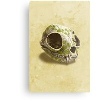 cat skull decorated with wasabi flowers Metal Print