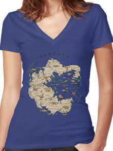 map of the supercontinent Pangaea Women's Fitted V-Neck T-Shirt